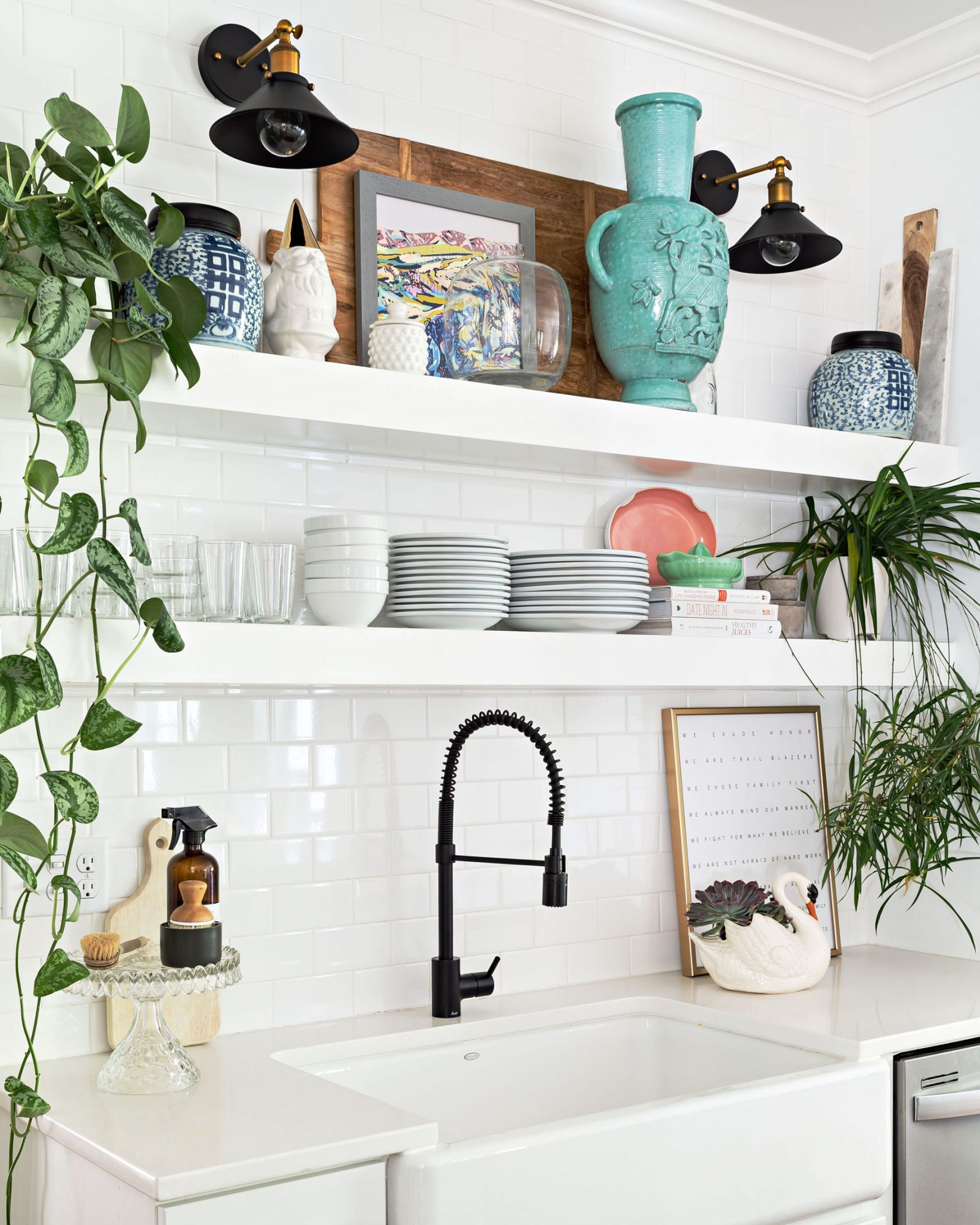 white tile backsplash and white kitchen sink