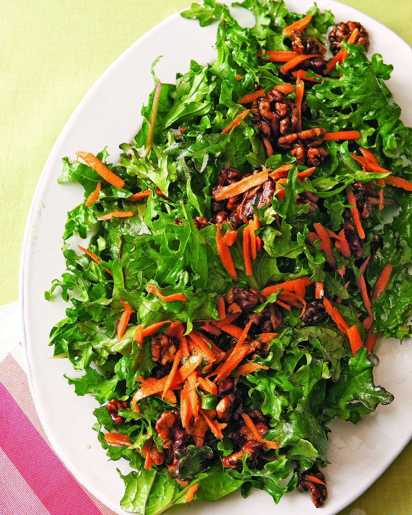 Kale & Carrot Salad with Candied Walnuts