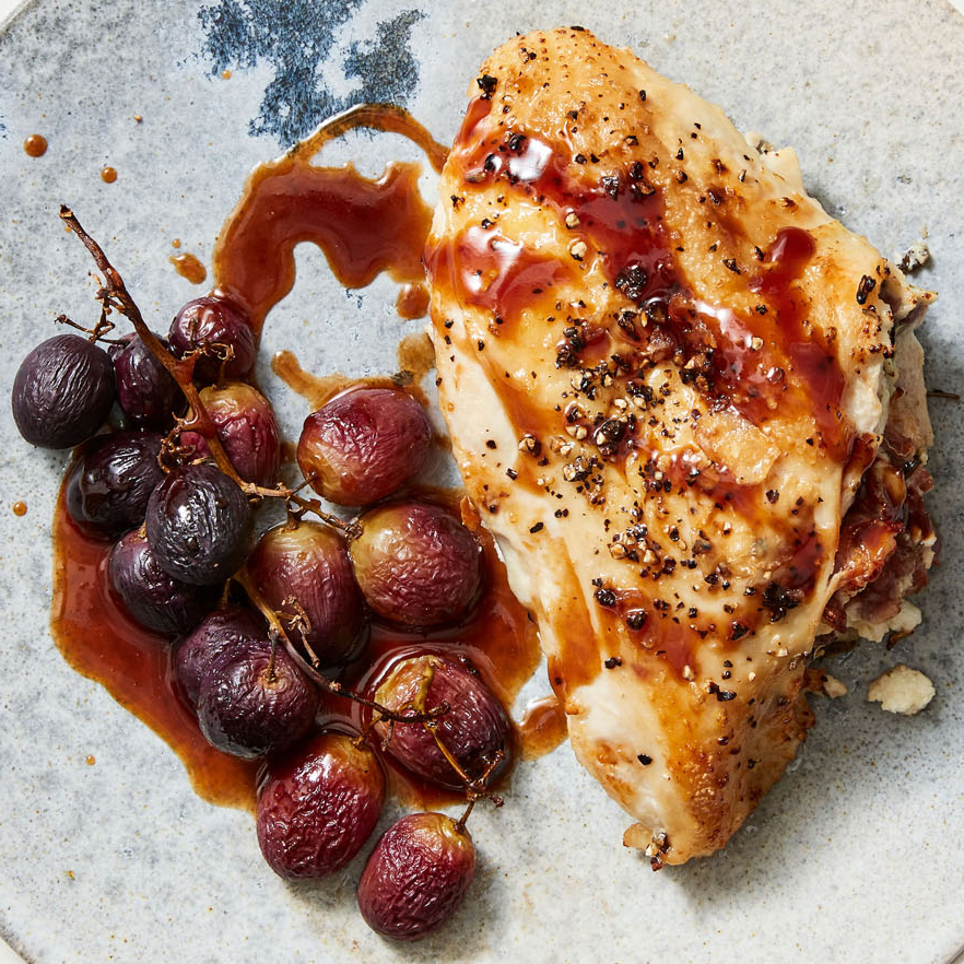 Goat Cheese & Prosciutto Stuffed Chicken Breasts with Roasted Grapes