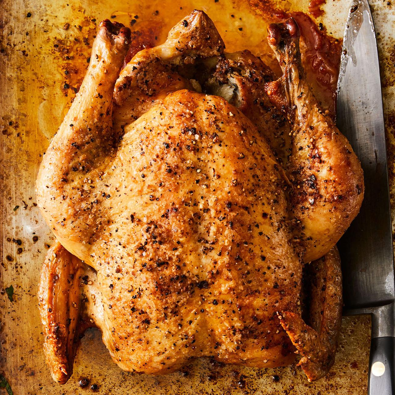 Salt & Pepper Roast Chicken with Lemon Sauce