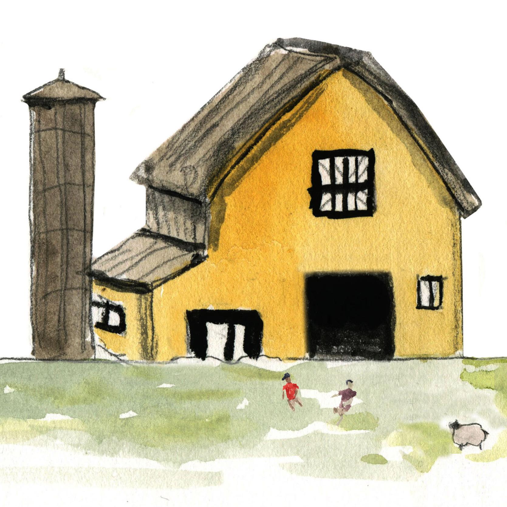 yellow farmhouse illustration