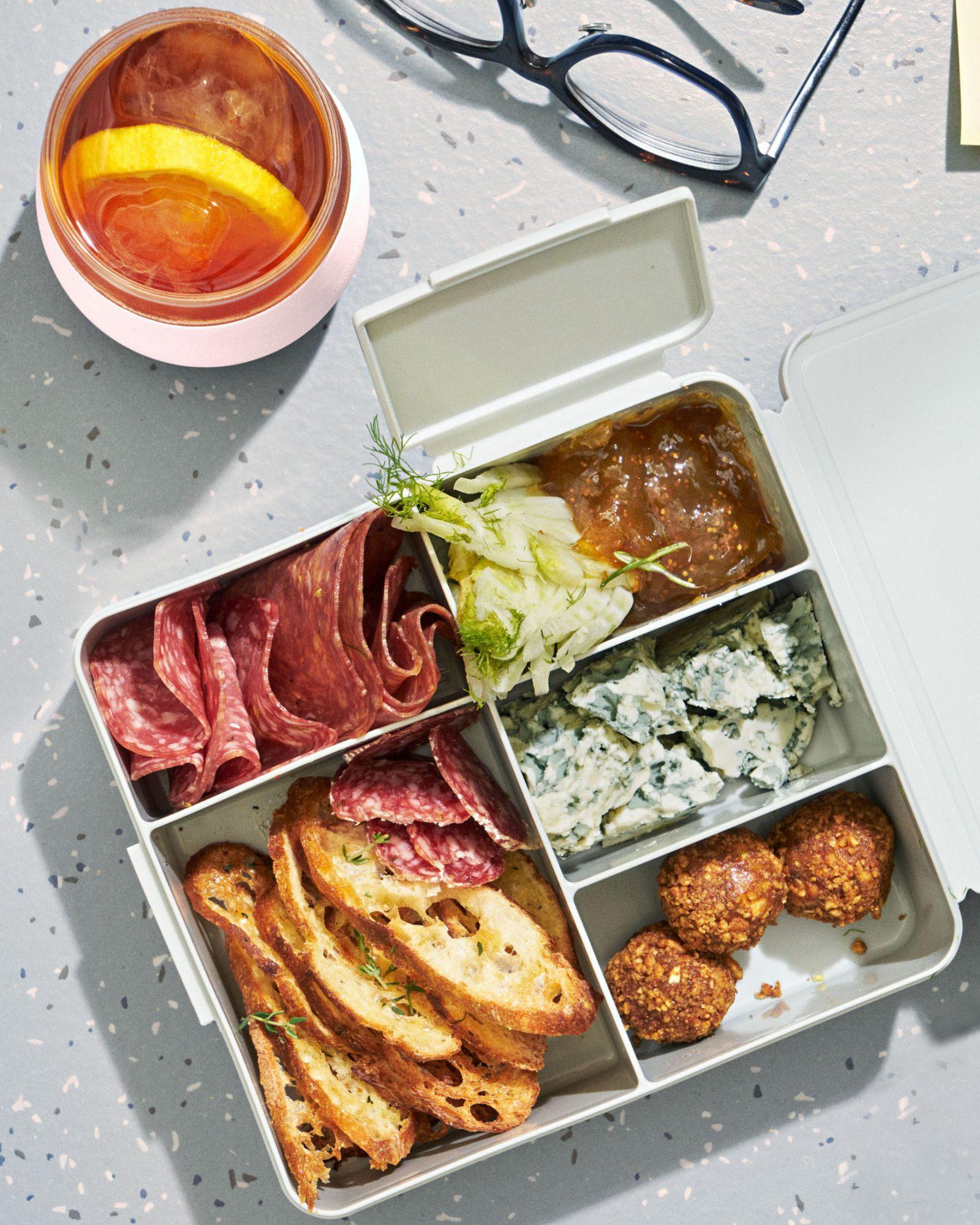 diy desk picnic lunch in bento box and ice tea
