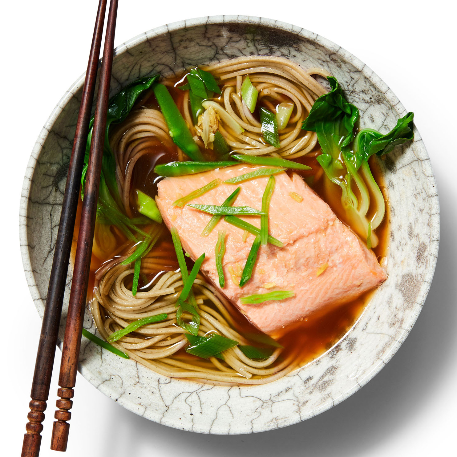 salmon soba hot pot