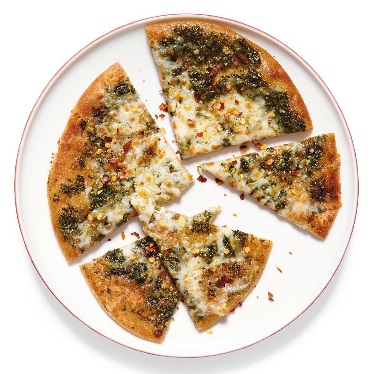 pesto and mozzarella flatbread