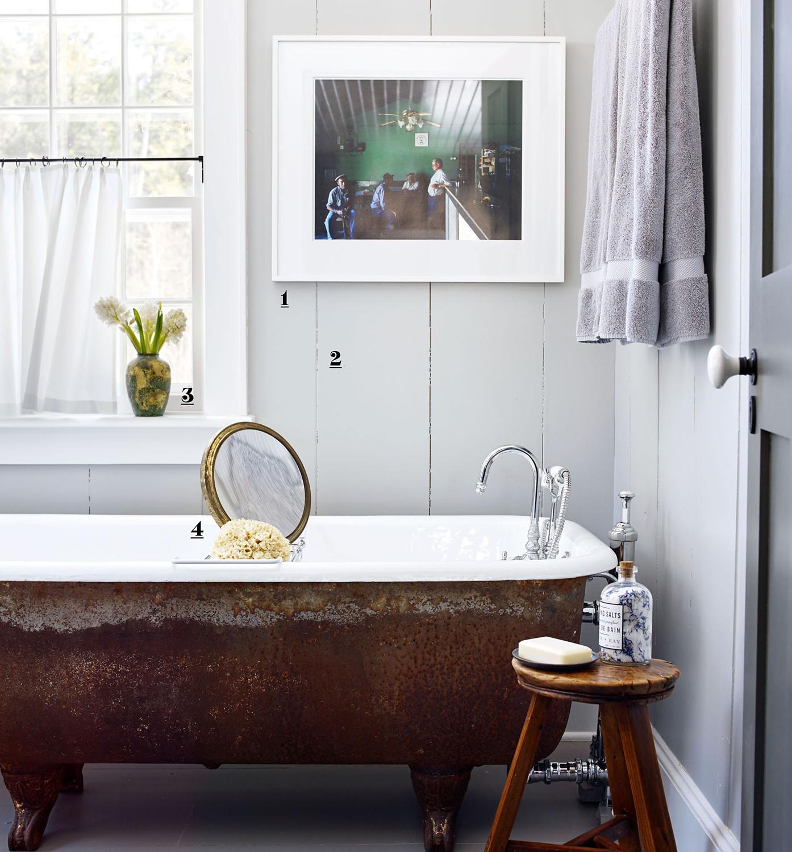 numbered bathroom artwork tub and window