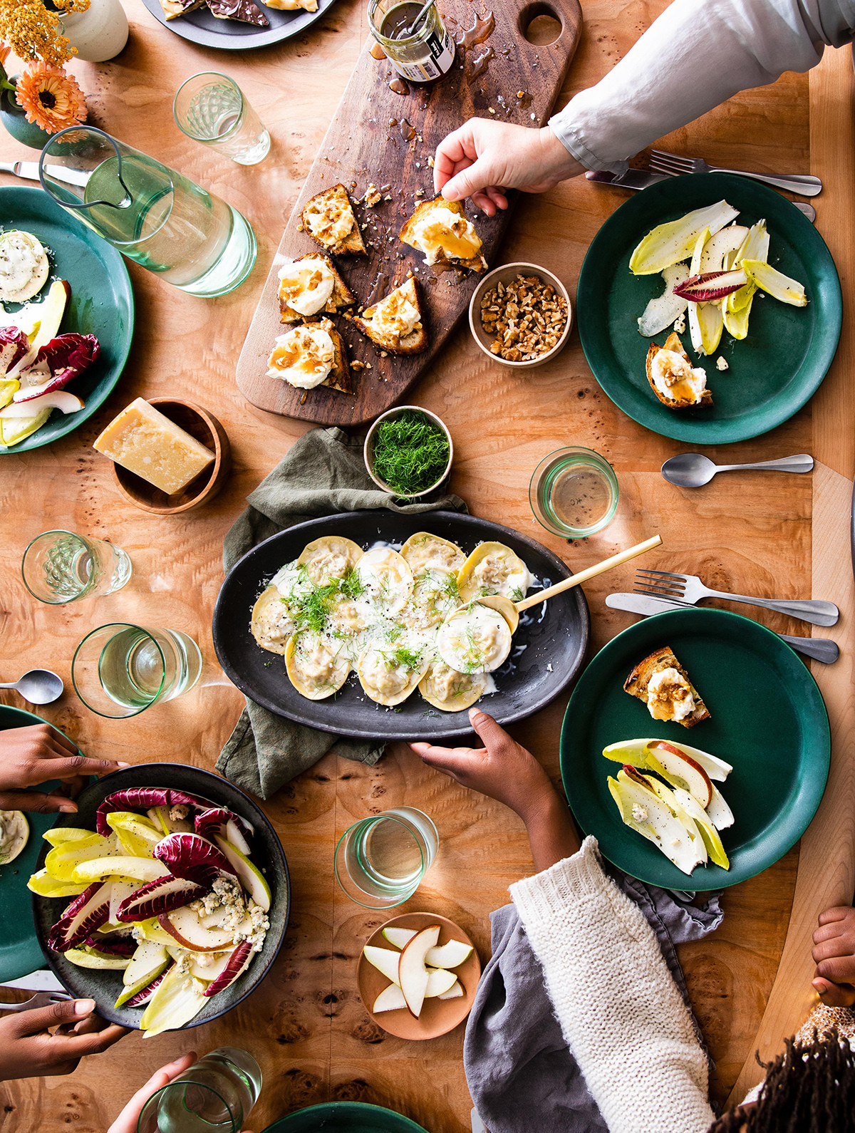 salt and straw table setting with food