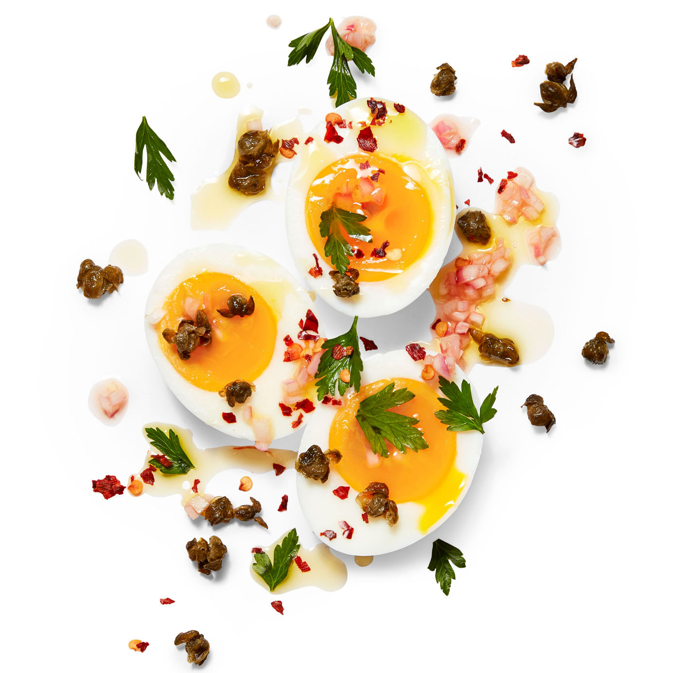 jammy eggs with fried capers