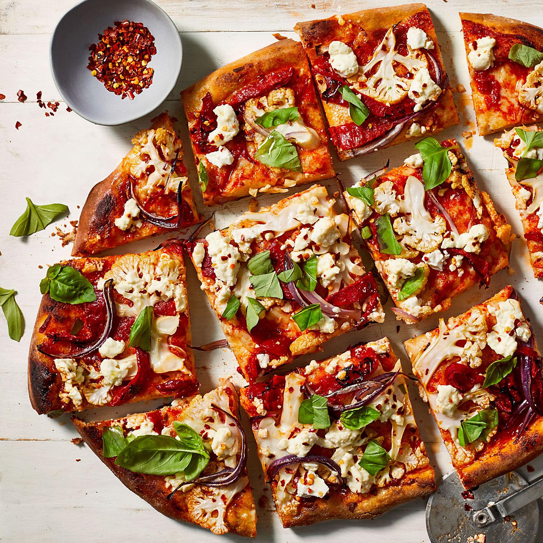 Veggie Pizza with Spicy Harissa Tomato Sauce