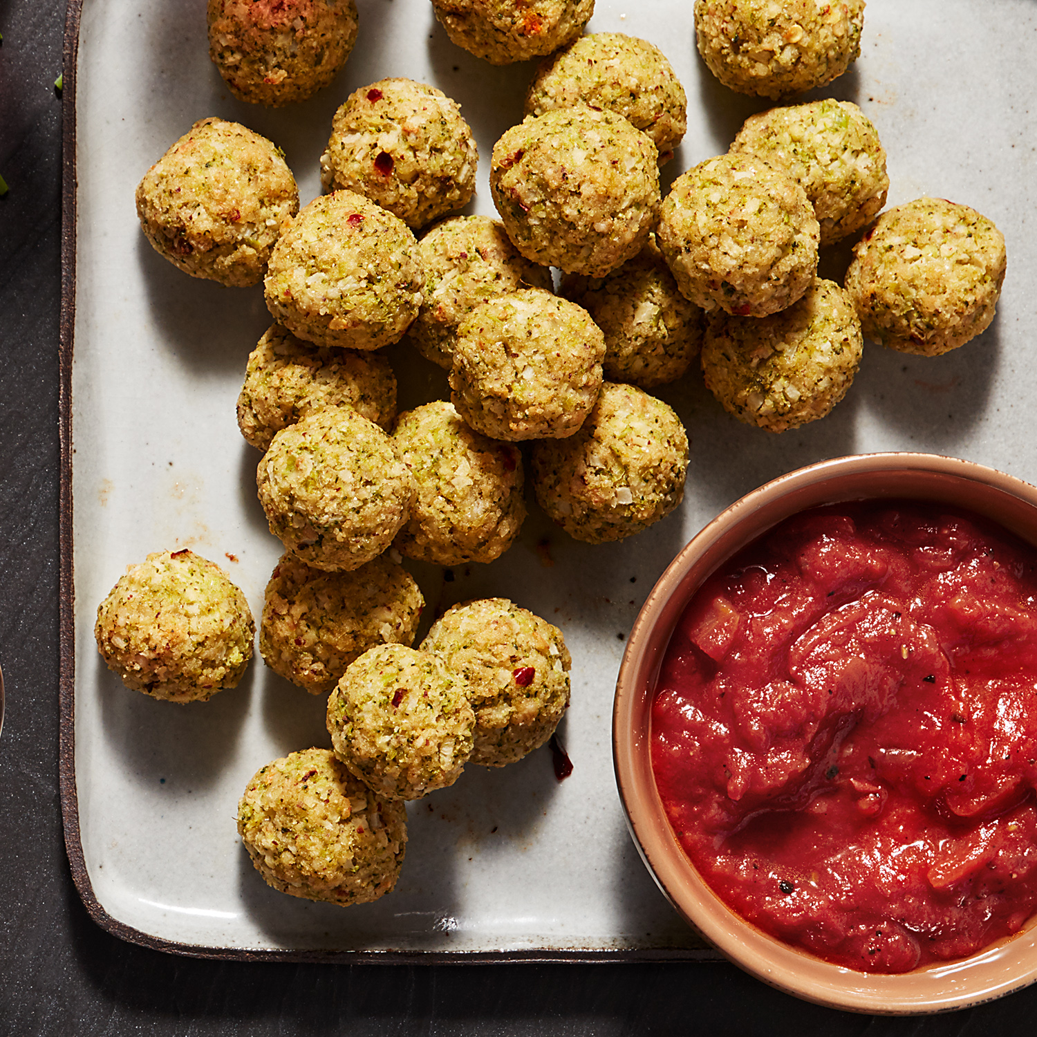 Spicy Meatless Meatballs with Fire-Roasted Red Sauce
