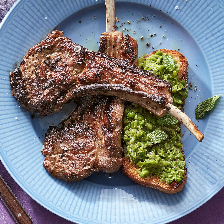 white toasts minty mashed peas scottadito lamb chops