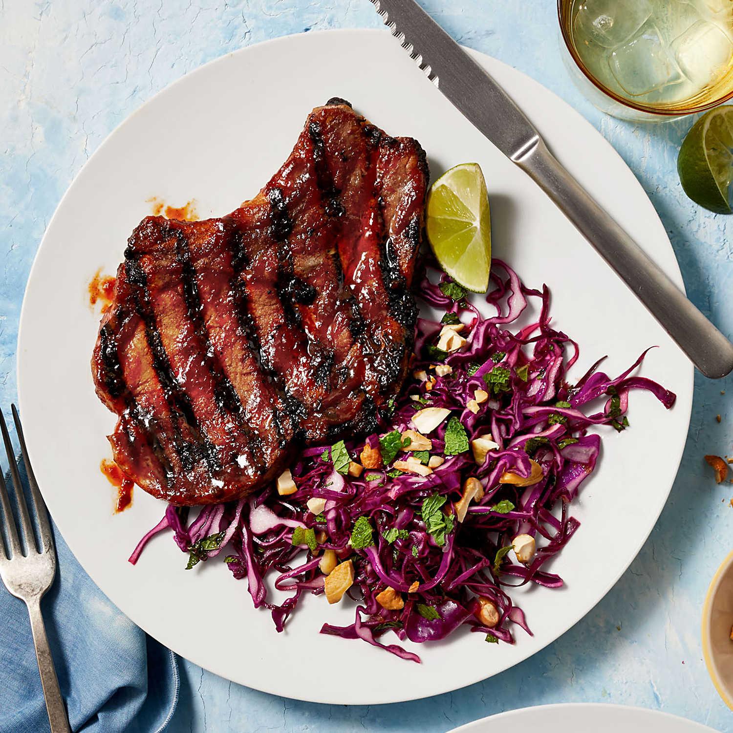 Gochujang Pork Chops with Red Cabbage, Cashew & Mint Slaw