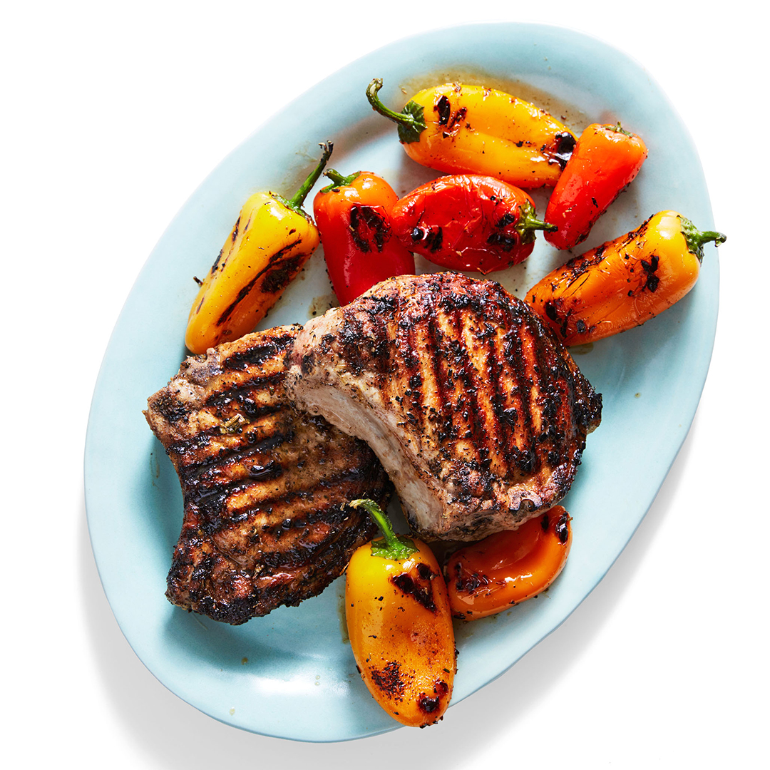 grilled pork chops and peppers