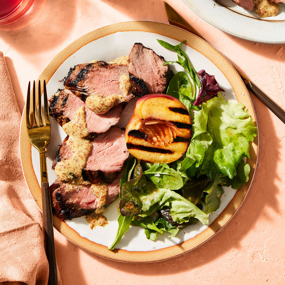 grilled pork tenderloin and peaches