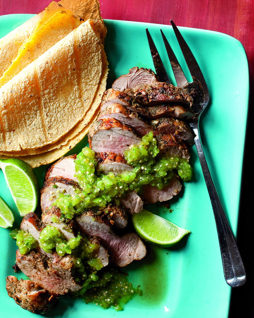 Grilled Pork Tenderloin with Tomatillo Salsa