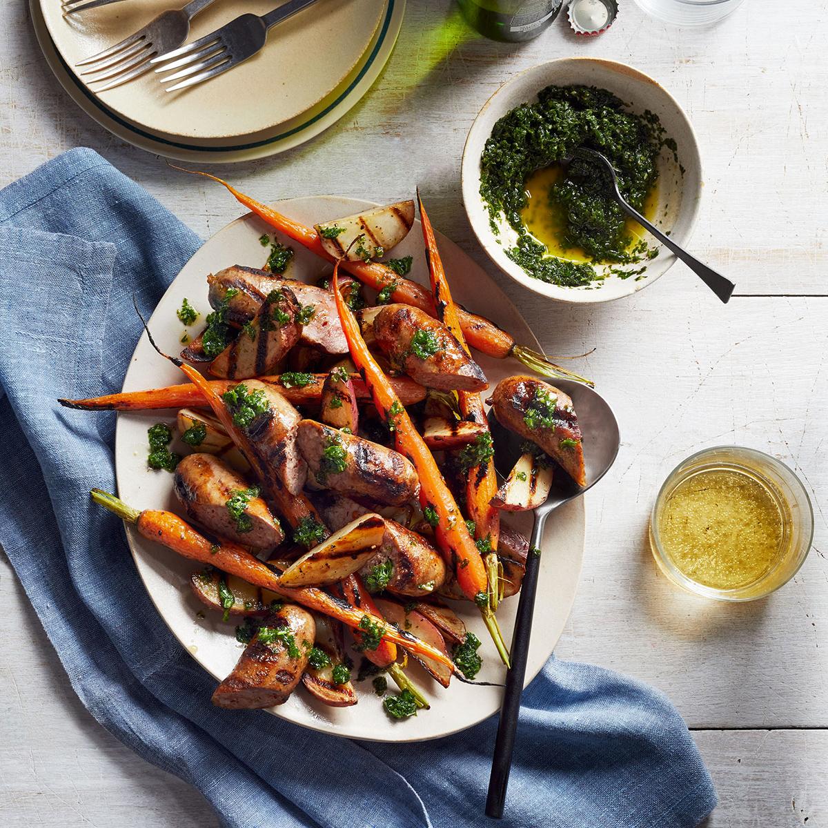 grilled sausage potatoes carrots salsa verde 0918