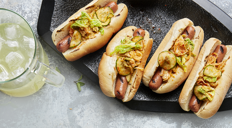hot dogs with kimchi salsa thai-basil lemonade