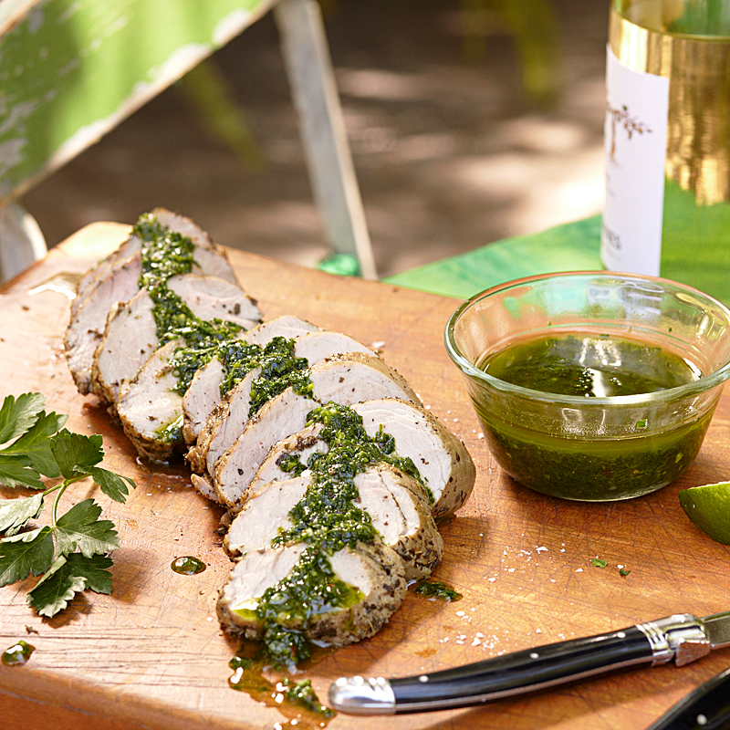 Pork Tenderloin with Garlic-Herb Sauce