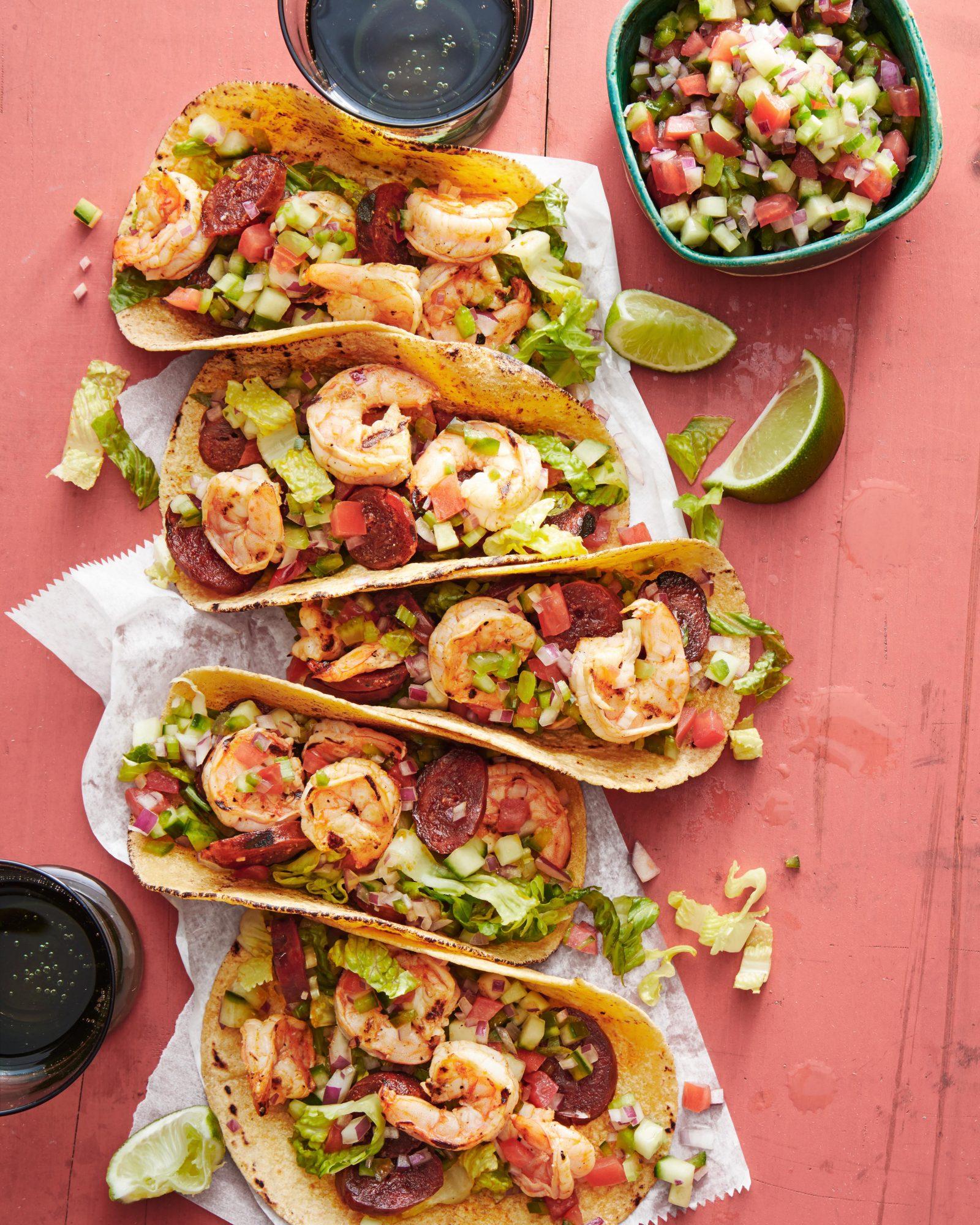 Tequila Shrimp & Chorizo Tacos with Gazpacho Salsa