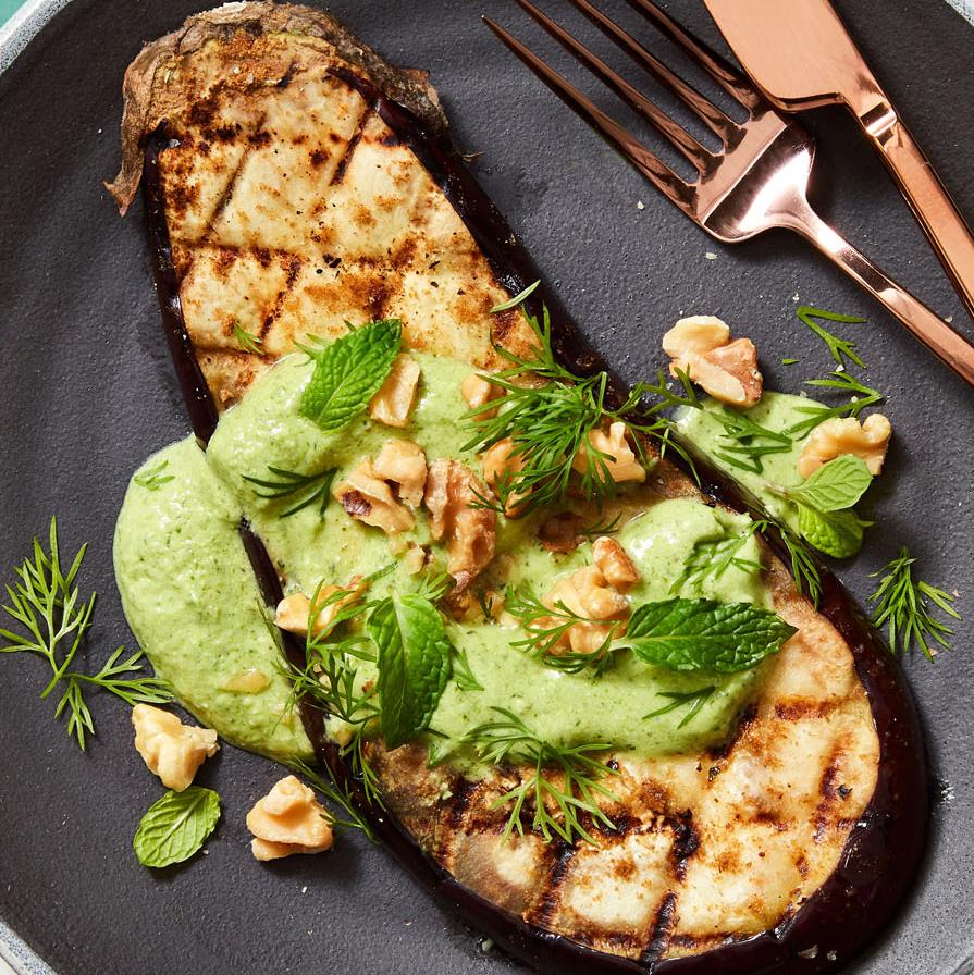 "Grilled Eggplant ""Steaks"" with Herby Yogurt"