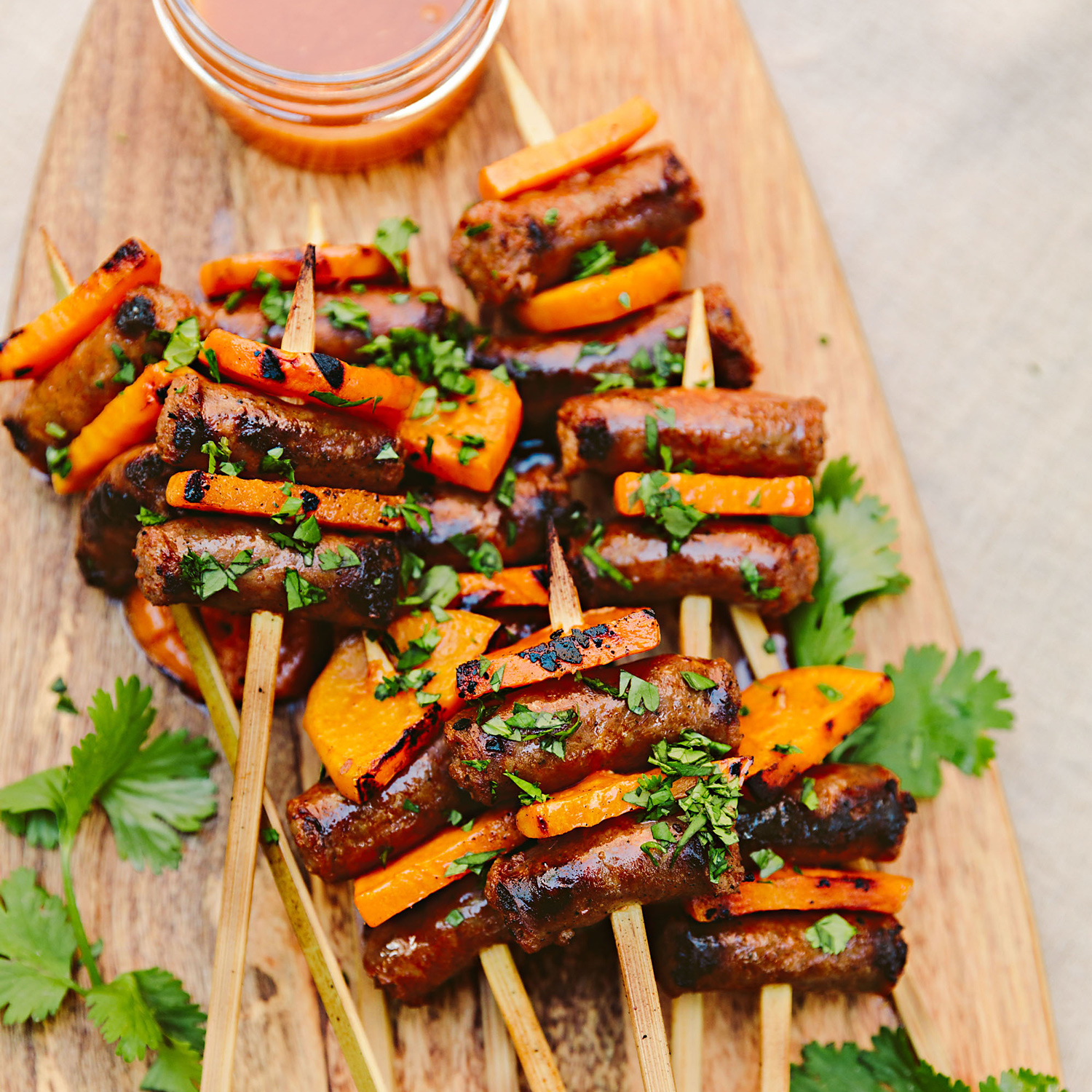 Stephanie Izard's Breakfast Sausage Skewers with Spiced Maple Drizzle