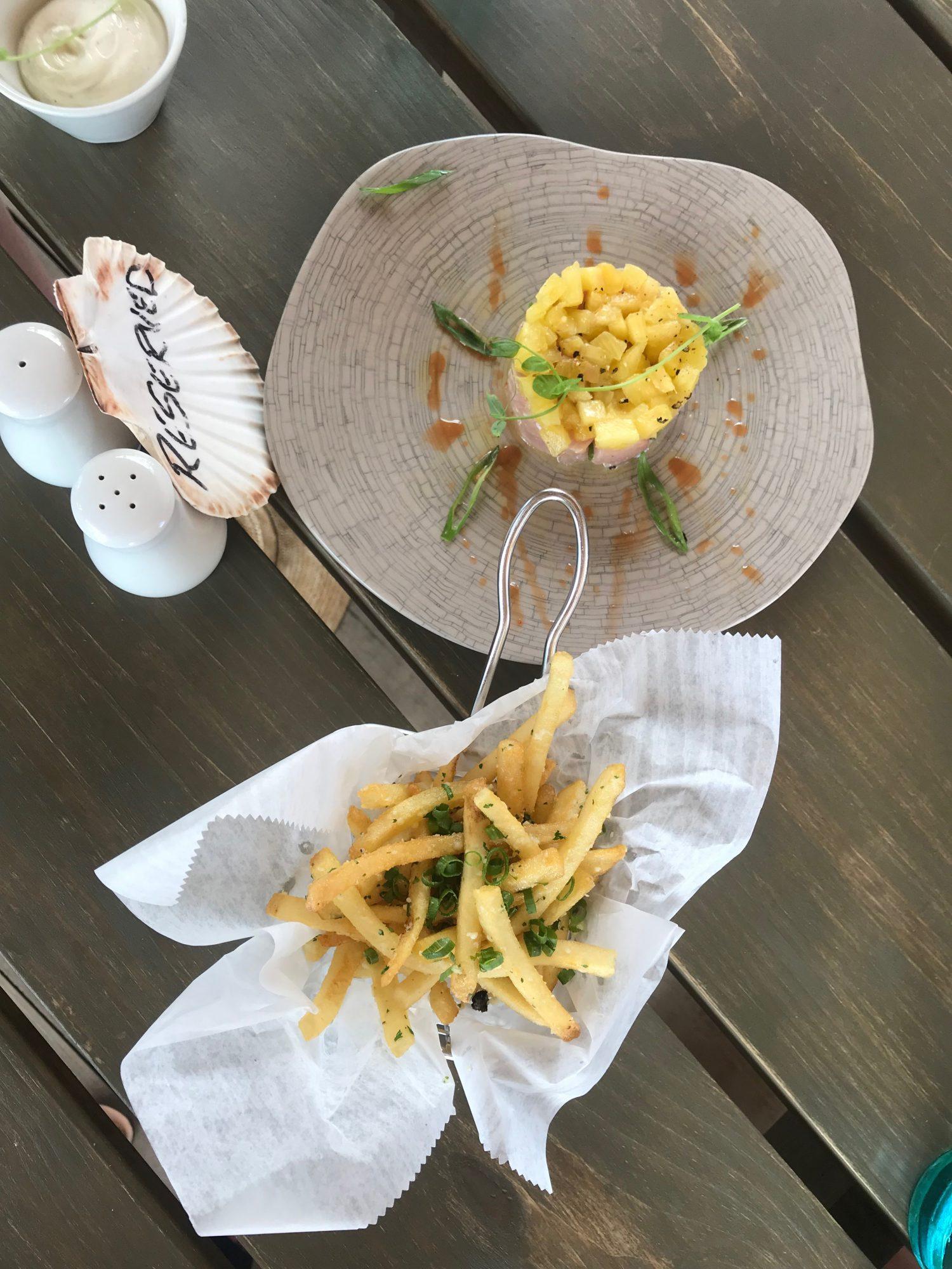 Mahi-Mahi ceviche and garlic fries at Sea Shed Barbados