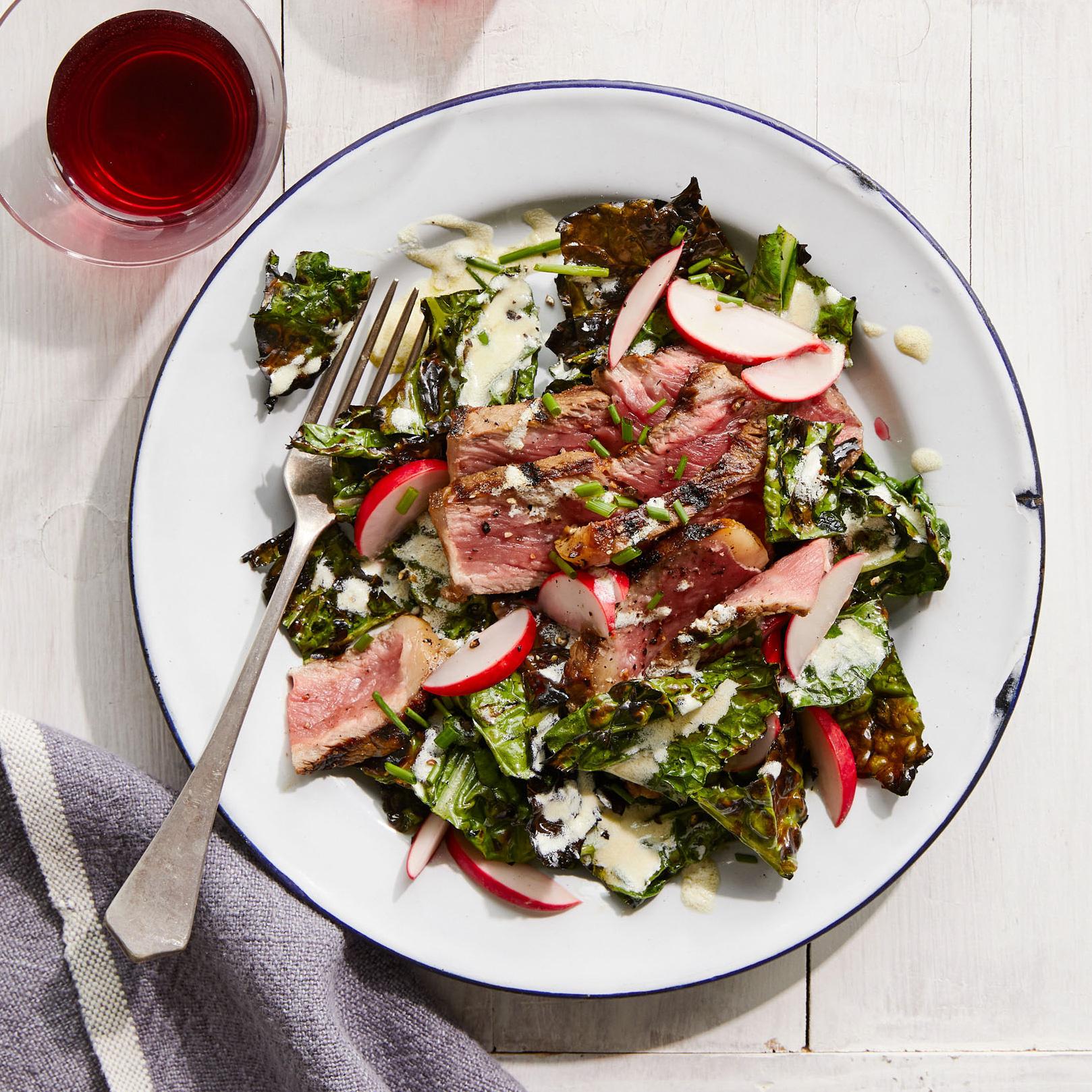 grilled steak kale salad