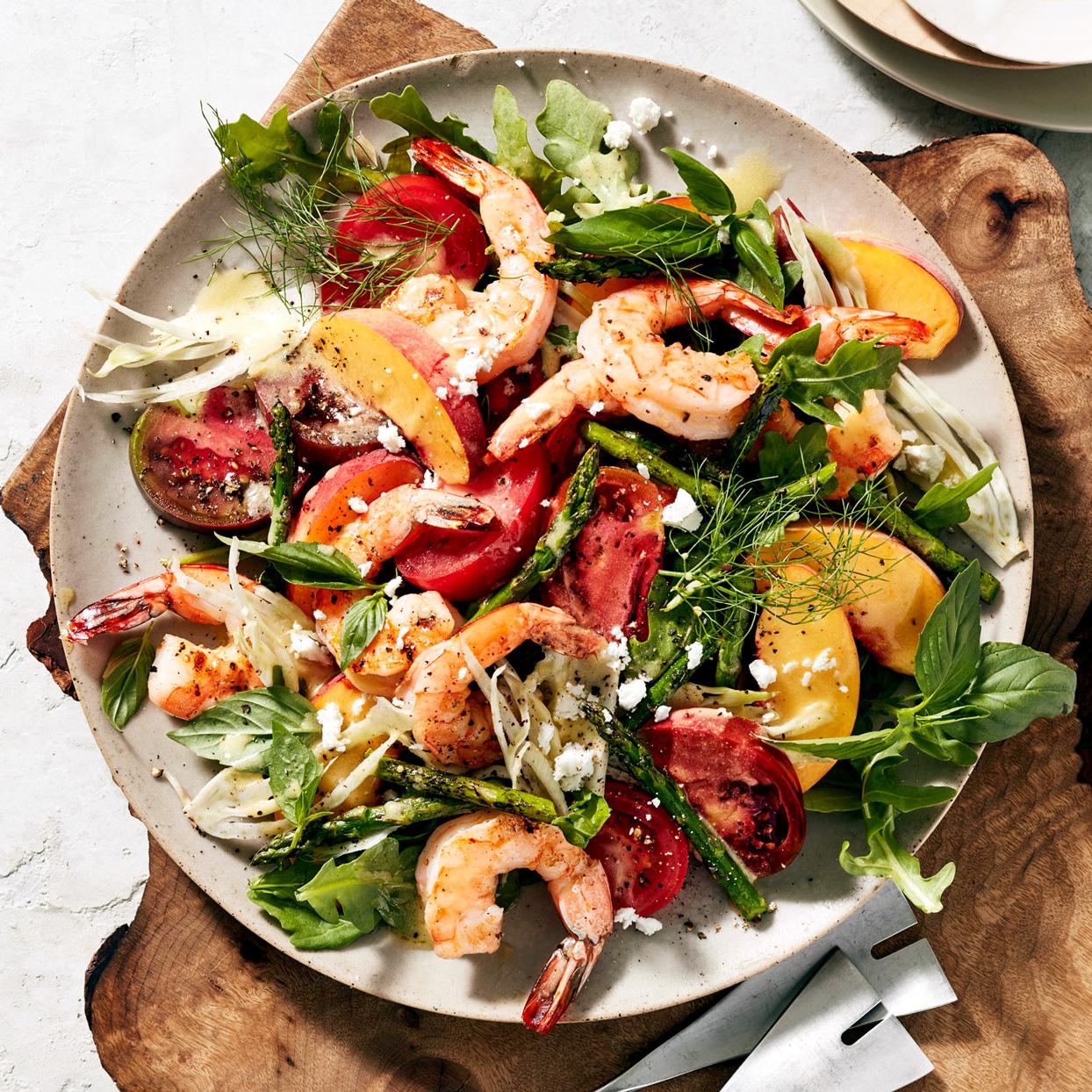 peach shrimp salad