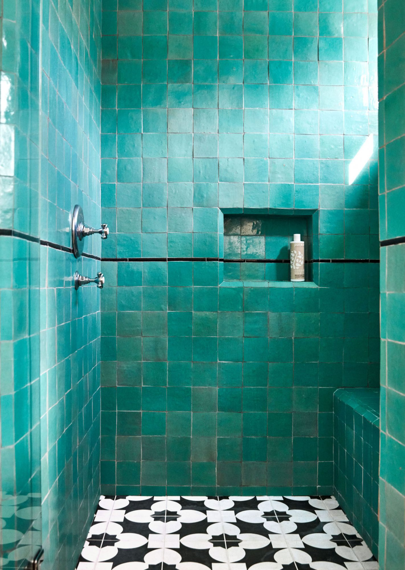 square turquoise tile shower