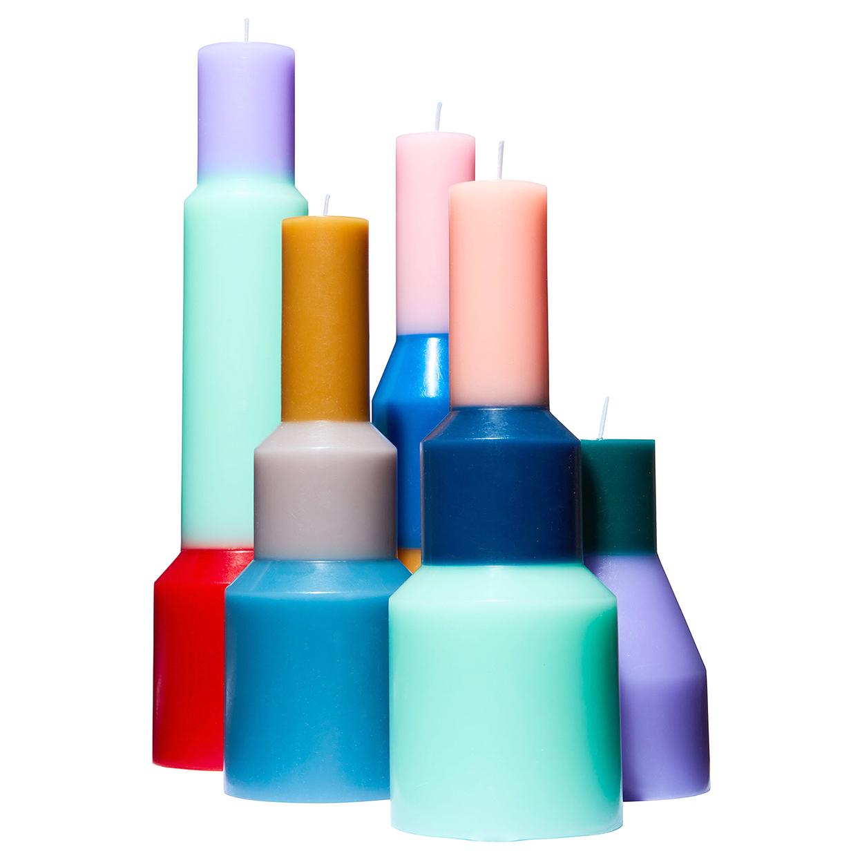 colorful sculptural Hay Pillar Candles
