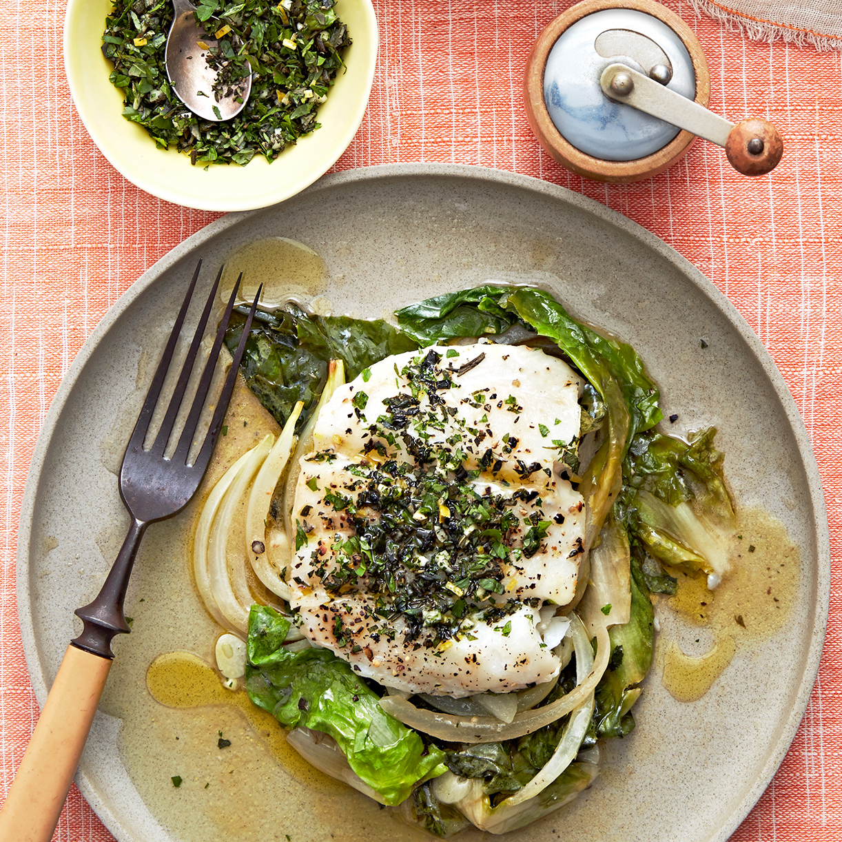 Baked Fish with Escarole, Wine & Herbs