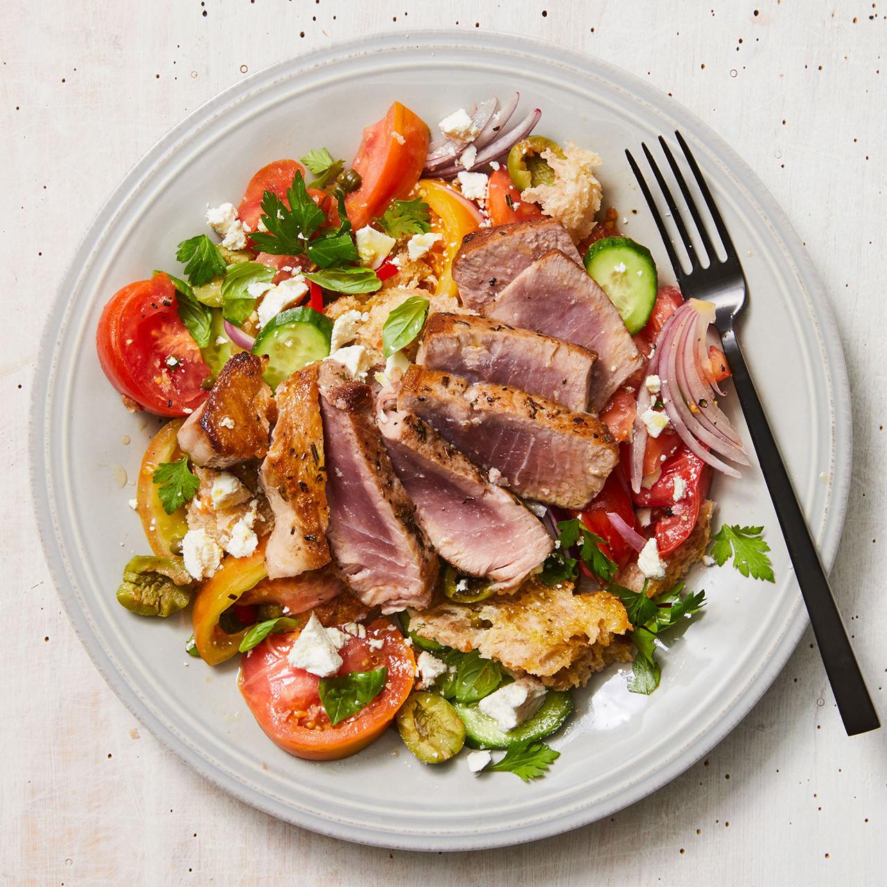 grilled tuna puttanesca panzanella