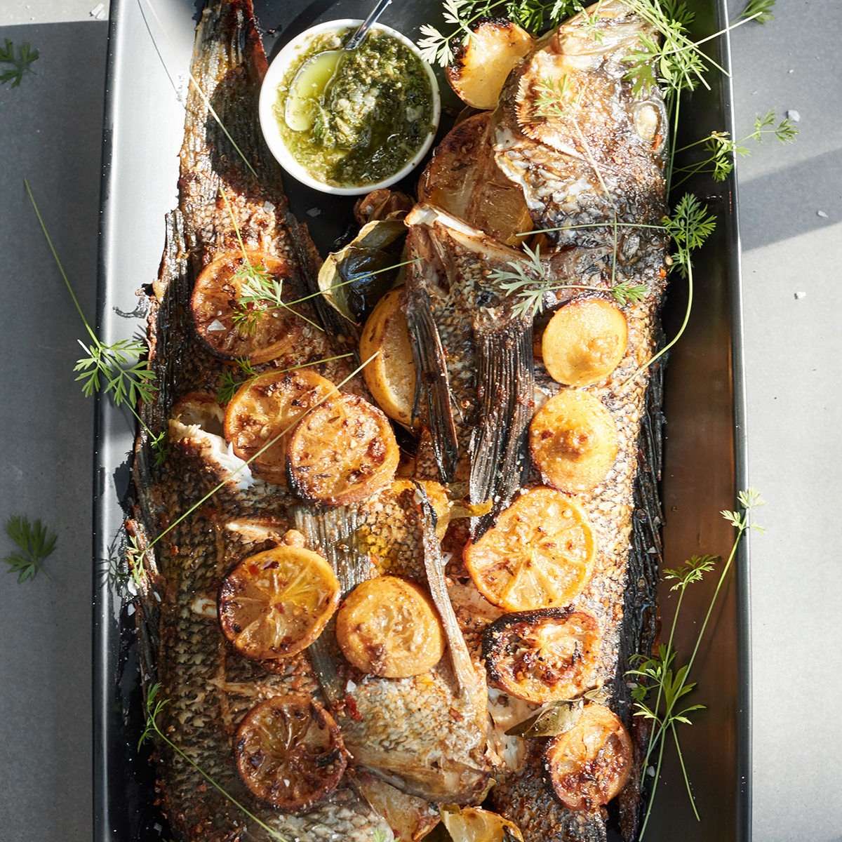 roasted whole fish with lemon herbs