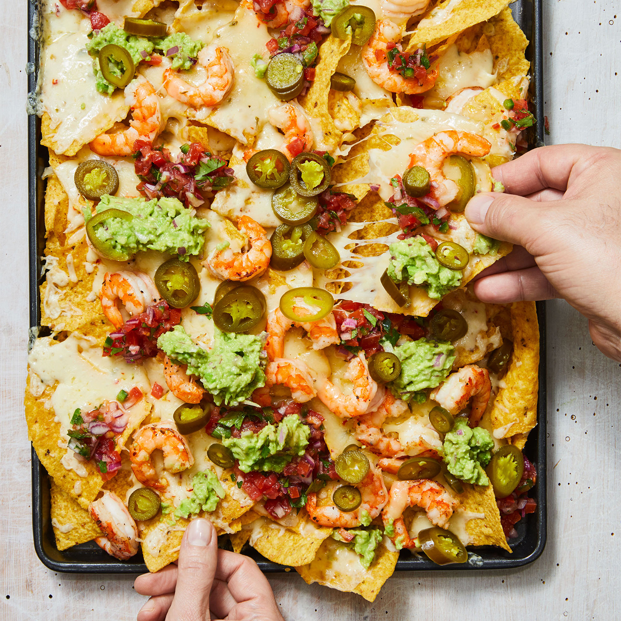 loaded shrimp nachos