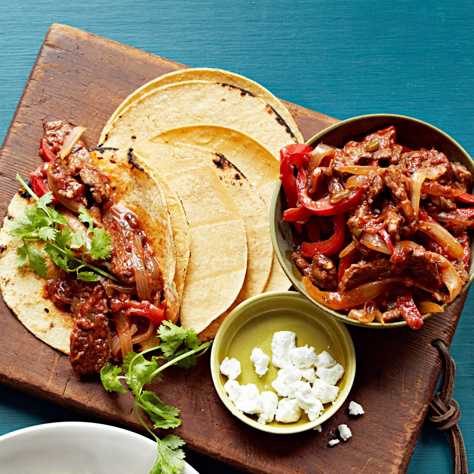 Spicy Beef Fajitas with Goat Cheese