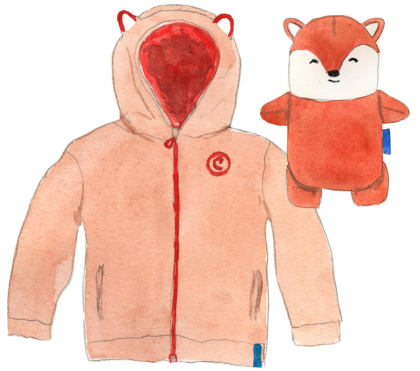 plush fox toy and Cubcoat illustration