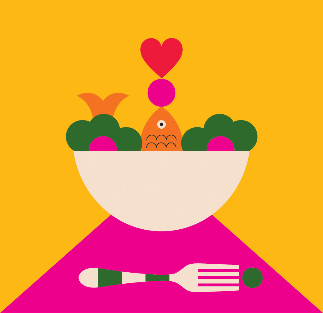 fish and veggies in bowl illustration
