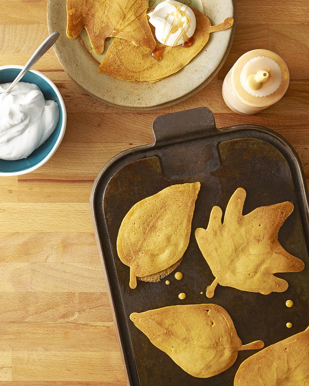 pumpkin pancakes with maple cream