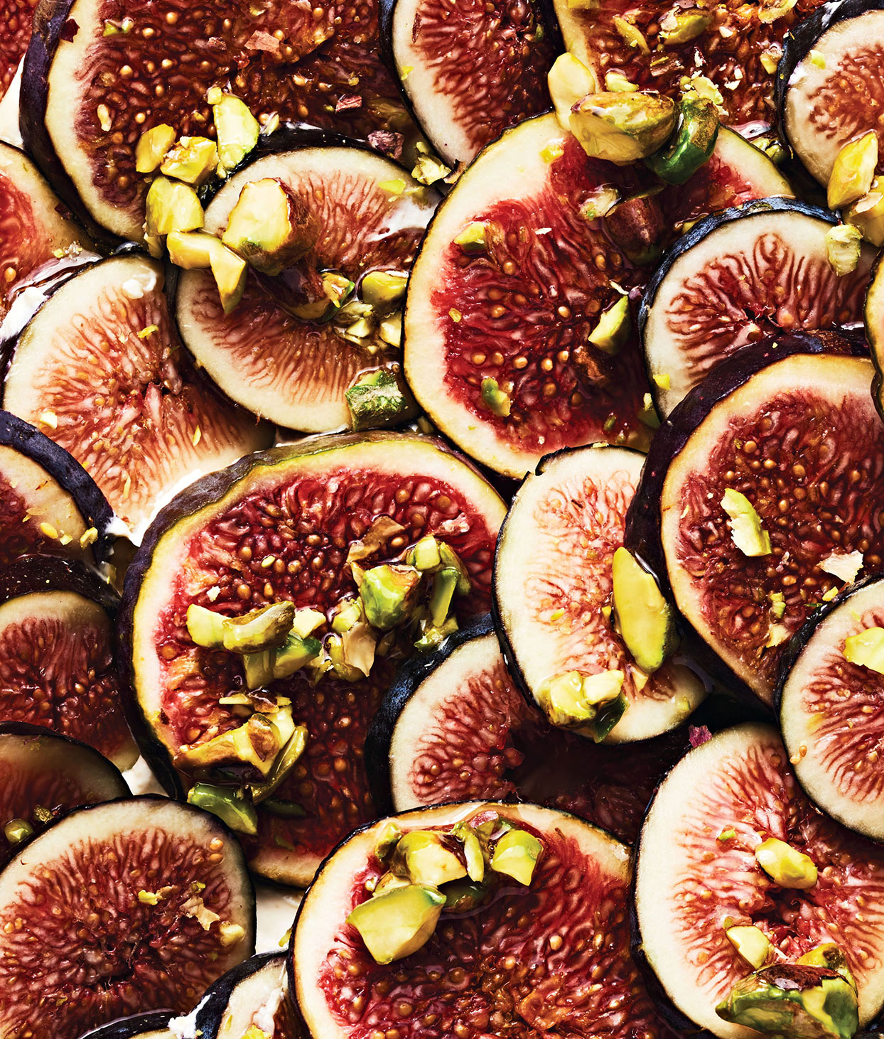ripe fresh figs with pistachios