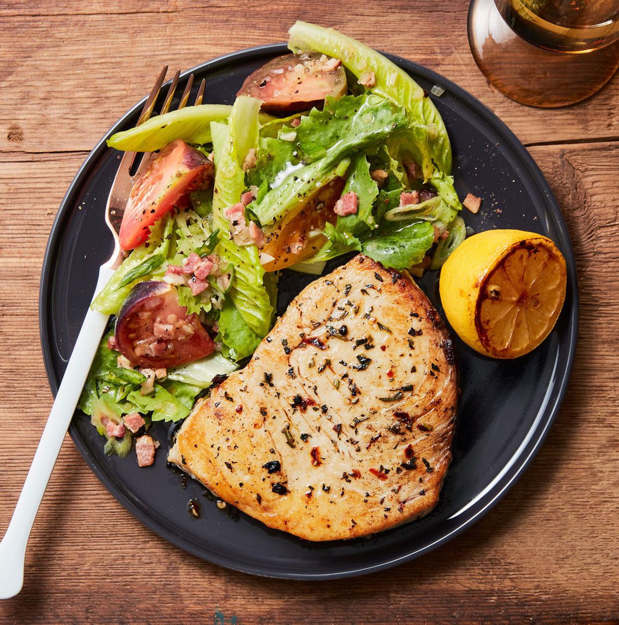 blt salad with grilled swordfish