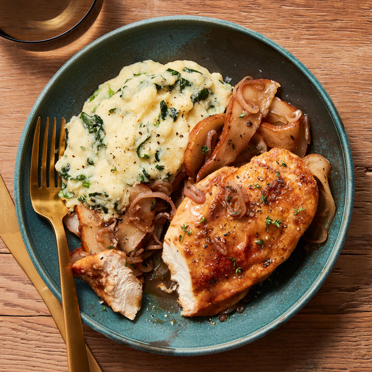 chicken with pears and polenta