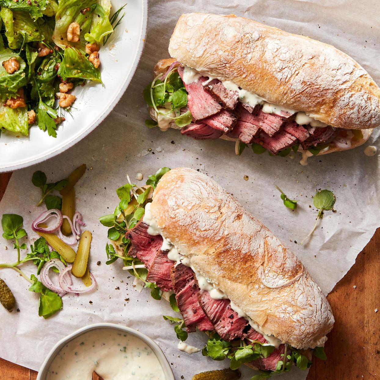 petite filet sandwiches with horseradish-dijon sauce