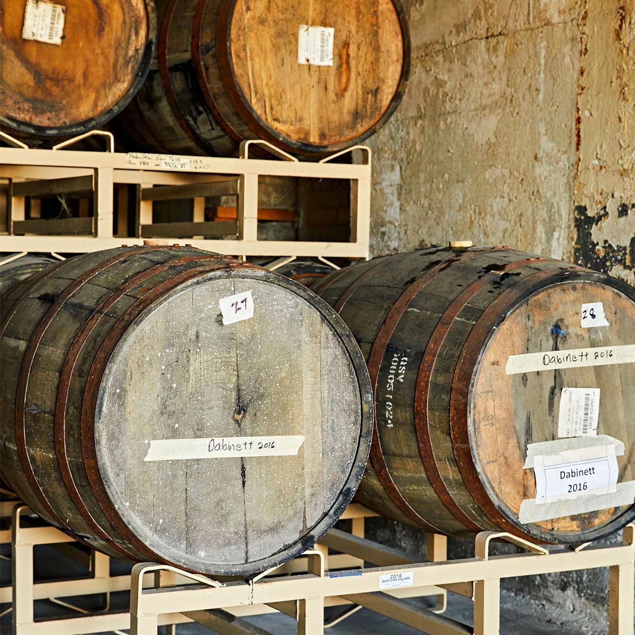 tasting room cider barrels