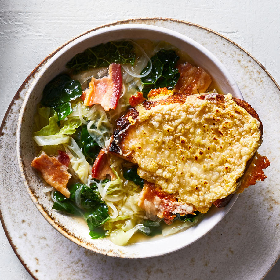 cabbage kale soup gruyere toasts