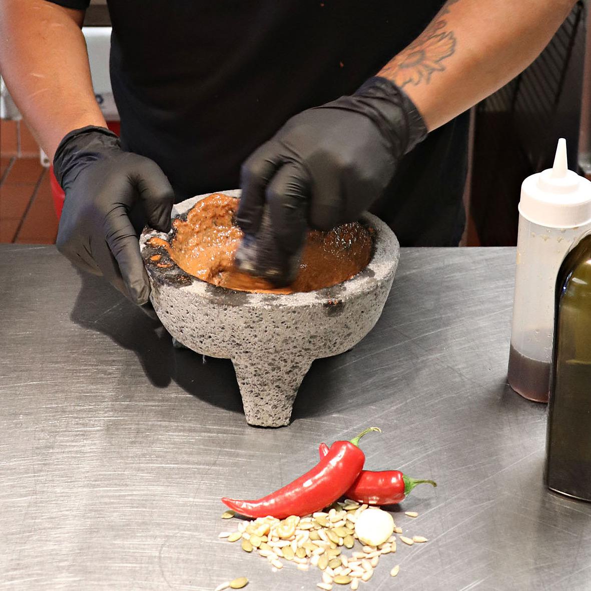 Brian Yazzie cooking