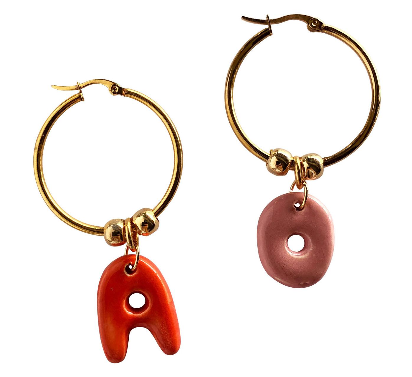 ceramic initial hoops earrings