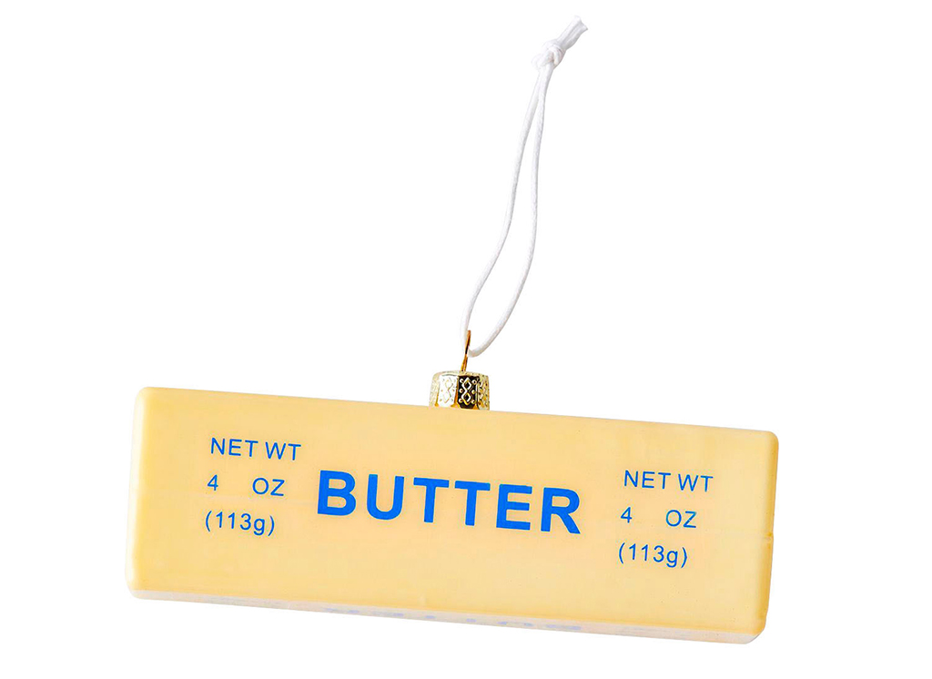 glass food ornaments butter