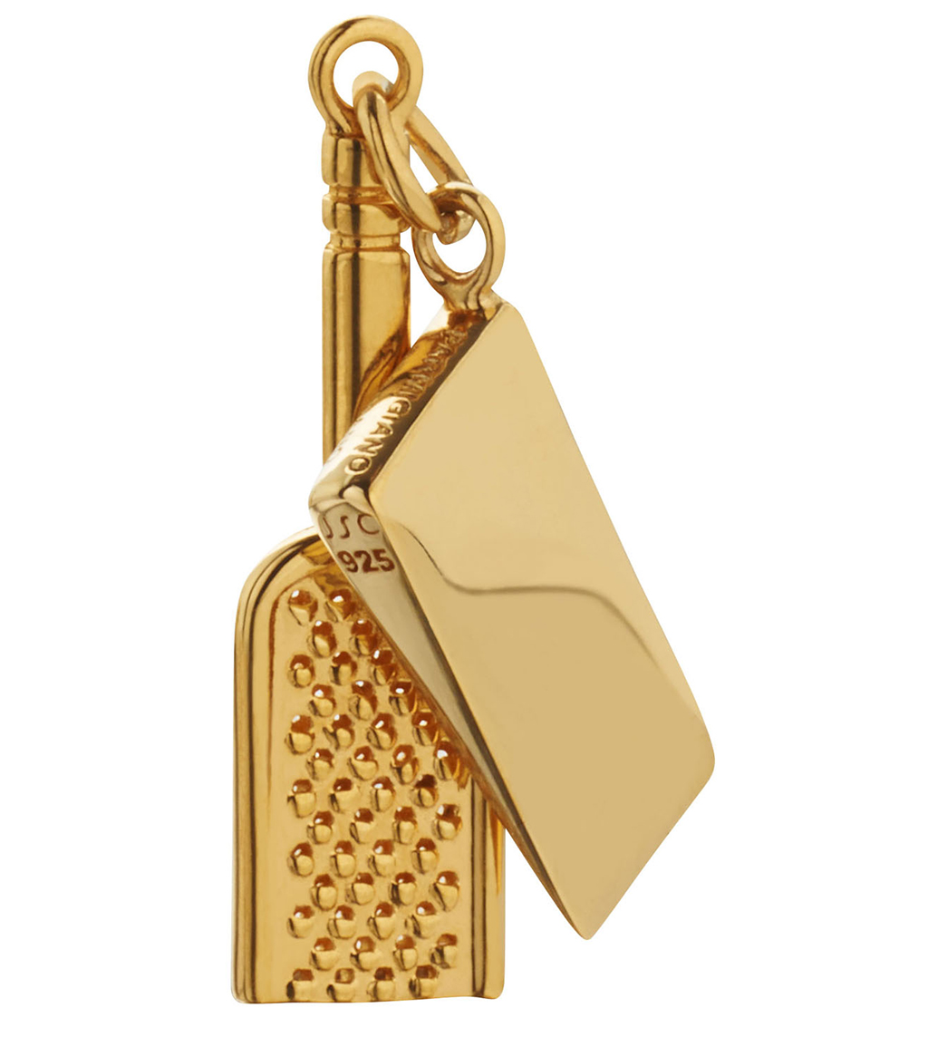 gold cheese grater charm