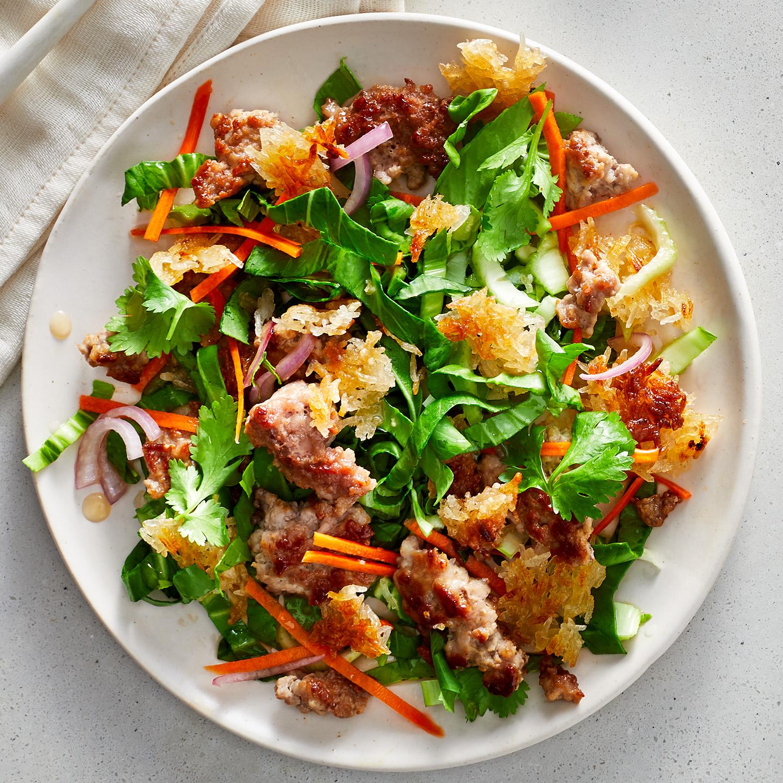 Crispy Rice and Pork Salad