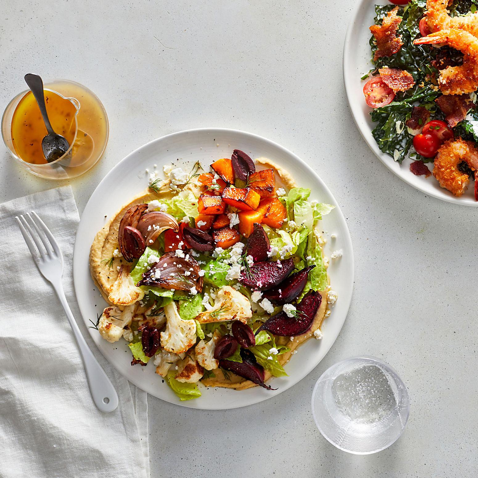 Winter Greek Salad Crispy Shrimp BLT Salad