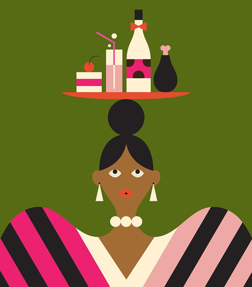 woman balancing holiday indulges on head